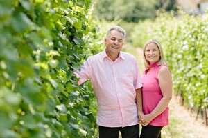 Tony and Barb Holler in the vineyard