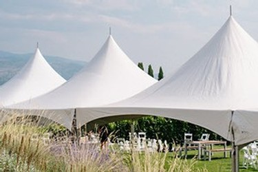 Outdoor tents at Poplar Grove Winery